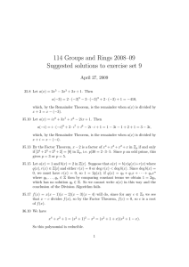 114 Groups and Rings 2008–09 Suggested solutions to exercise set 9