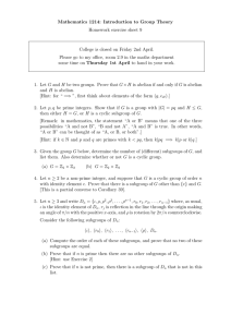 Mathematics 1214: Introduction to Group Theory Homework exercise sheet 9