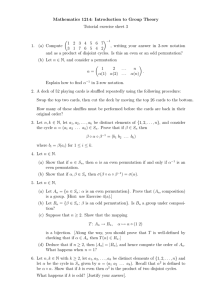 Mathematics 1214: Introduction to Group Theory Tutorial exercise sheet 3