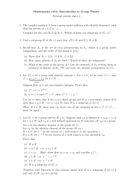 Mathematics 1214: Introduction to Group Theory Tutorial exercise sheet 4