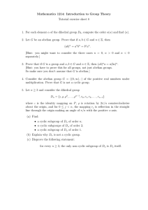 Mathematics 1214: Introduction to Group Theory Tutorial exercise sheet 8