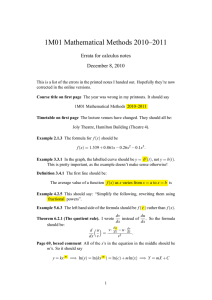 1M01 Mathematical Methods 2010–2011 Errata for calculus notes December 8, 2010