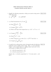 1M01 Mathematical Methods 2010–11 Calculus tutorial exercise sheet 5