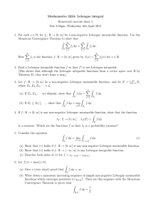 Mathematics 2224: Lebesgue integral Homework exercise sheet 5