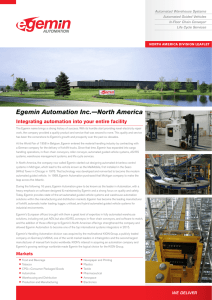 Egemin Automation Inc.—North America Integrating automation into your entire facility