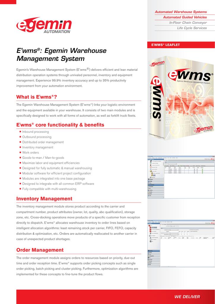 E'wms : Egemin Warehouse Management System ®