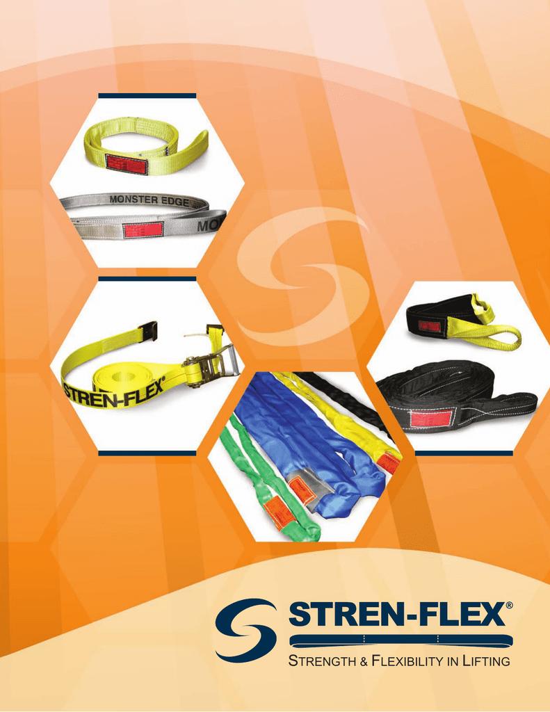 4 Ply 16 Length x 2 Width Yellow Stren-Flex EEF4-902-16 Type 3 Heavy Duty Nylon Flat Eye and Eye Web Sling 12,200 lbs Vertical Load Capacity