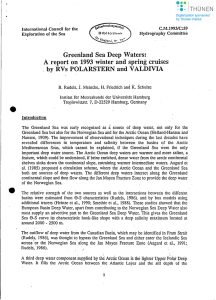 Greenland Sea Deep Waters: Areport on ·1993 winter and spring. 1.