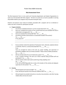 Prairie View A&M University Risk Assessment Form