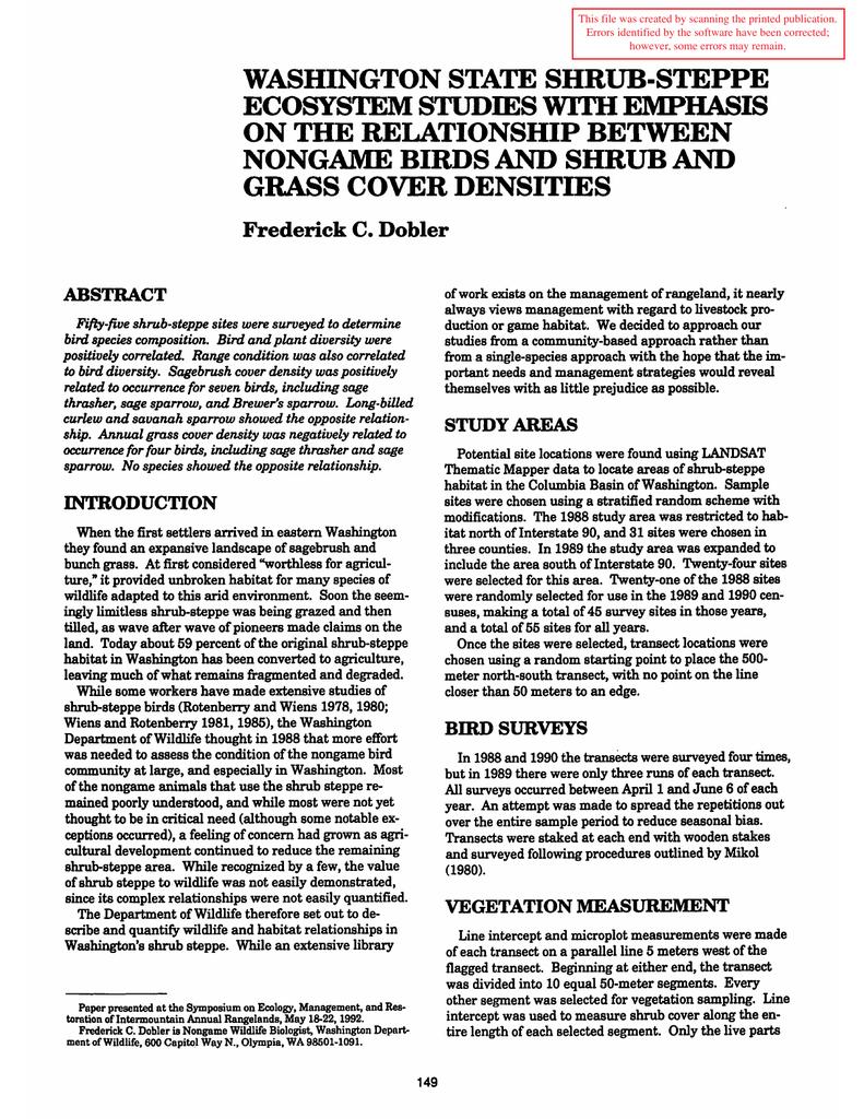 WASHINGTON STATE SHRUB-STEPPE ECOSYSTEM STUDIES WITH