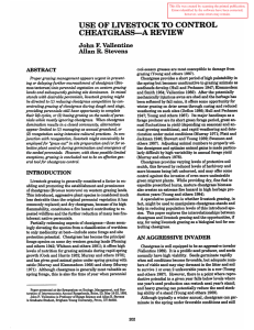 USE OF LIVESTOCK TO CONTROL CHEATGRASS-A REVIEW John F. Vallentine Allan R. Stevens
