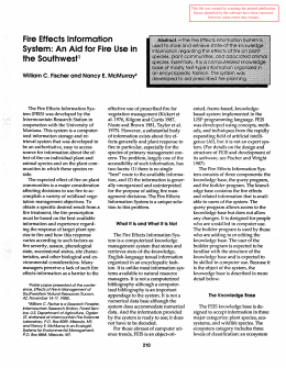 Fire Effects Information System: An Aid for Fire Use in the Southwest