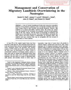 Migratory Landbirds  Overwintering in  the. Management  and  Conservation Neotropics