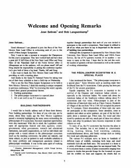and Remarks Welcome Opening