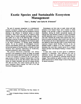 Exotic  Species  and  Sustainable  Ecosystem Management