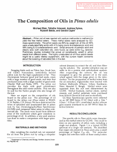 Pinus edulis The Composition of Oils in