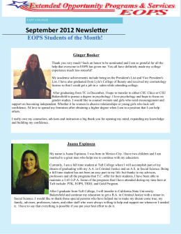 September 2012 NewsleƩer EOPS Students of the Month! Ginger