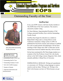 Outstanding Faculty of the Year  Geoffrey Dyer