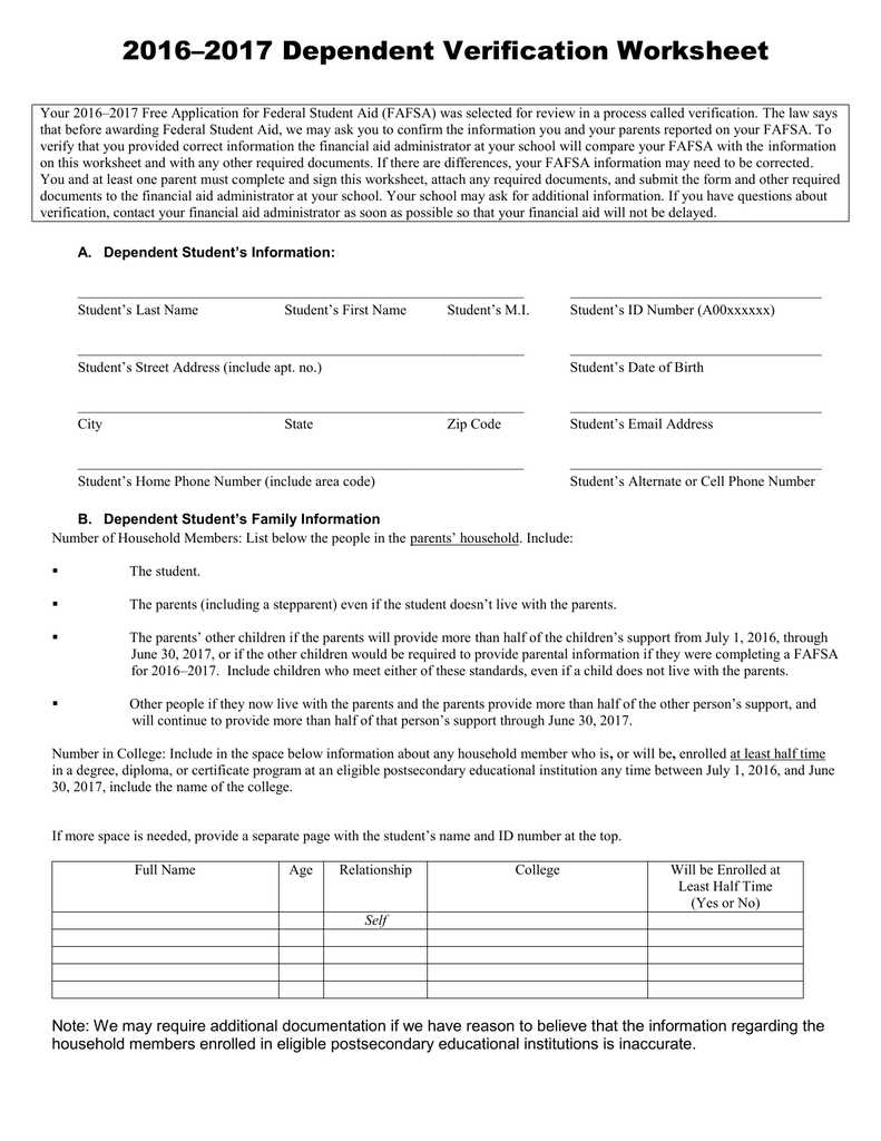 Worksheets Dependant Verification Worksheet dependent verification worksheet