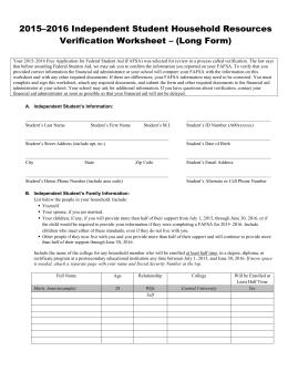 Worksheets Dependent Verification Worksheet dependent student household resources verification independent worksheet long