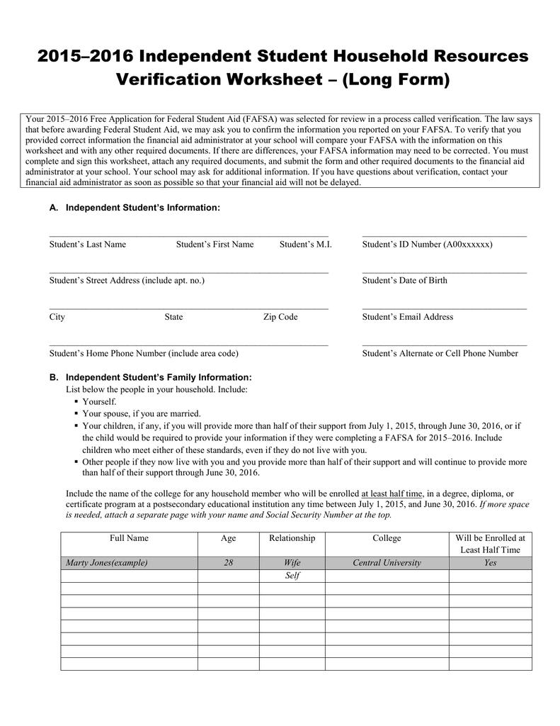 Worksheets Independent Verification Worksheet independent student household resources verification worksheet long form