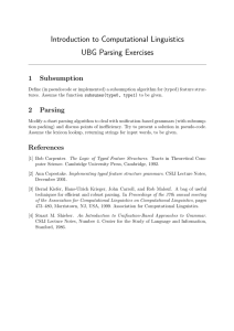 Introduction to Computational Linguistics UBG Parsing Exercises 1 Subsumption
