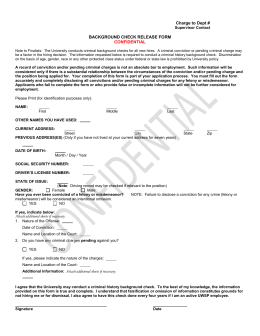 Charge to Dept # BACKGROUND CHECK RELEASE FORM CONFIDENTIAL