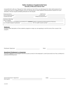 Tuition Assistance Supplemental Form University of Wisconsin-Stevens Point