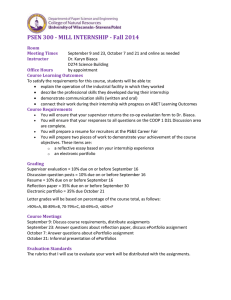 PSEN 300 - MILL INTERNSHIP - Fall 2014