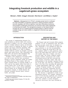 Integrating livestock production and wildlife in a sagebrush-grass ecosystem Michael L. Wolfe