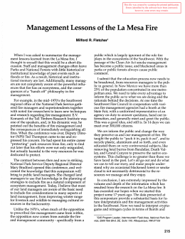 Management Lessons of the La Mesa Fire Milford R.  Fletcher