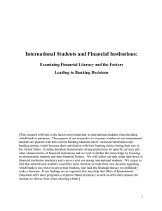 International Students and Financial Institutions: Examining Financial Literacy and the Factors