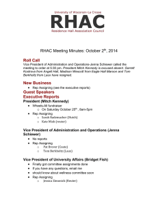 Roll Call RHAC Meeting Minutes: October 2 , 2014