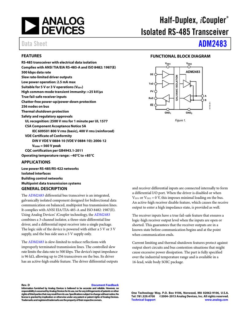 Half-Duplex, Isolated RS-485 Transceiver ADM2483 Data Sheet
