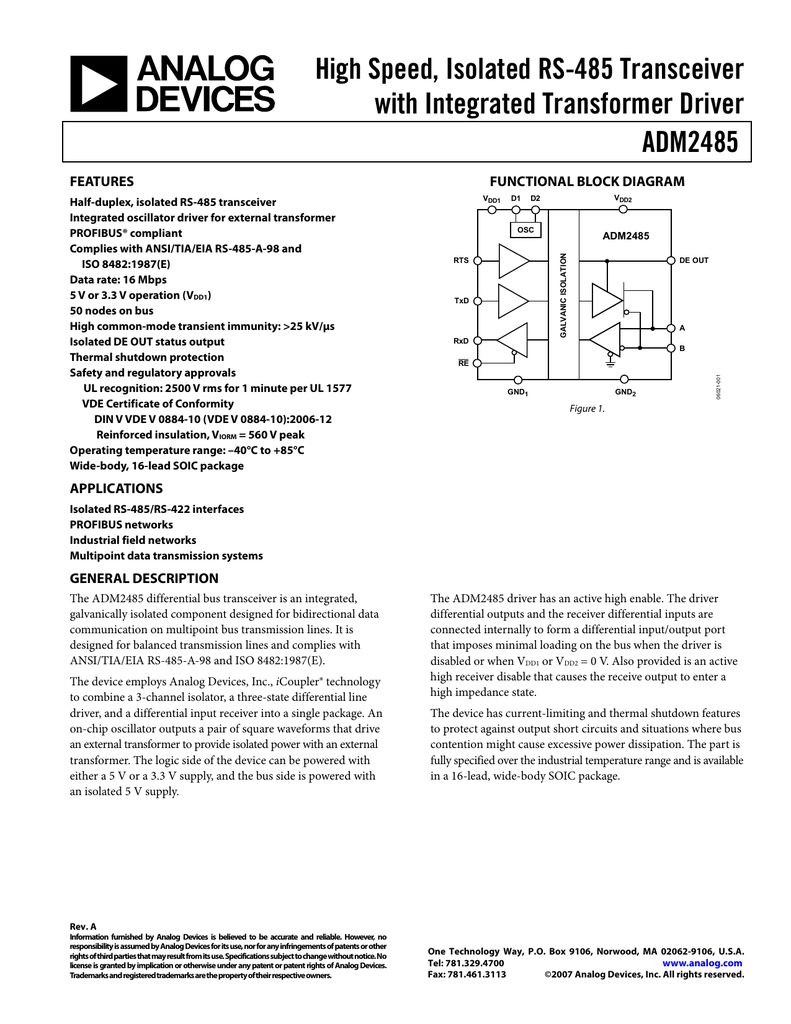 High Speed Isolated Rs 485 Transceiver With Integrated Transformer Block Diagram Driver Adm2485