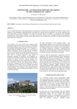 TOPOGRAPHIC AND PHOTOGRAMMETRIC RECORDING OF THE ACROPOLIS OF ATHENS