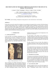 "DOCUMENTATION OF THE ROMAN BRONZE HAND FOUND IN THE SITE OF... TOSSAL"" IN LUCENTUM"