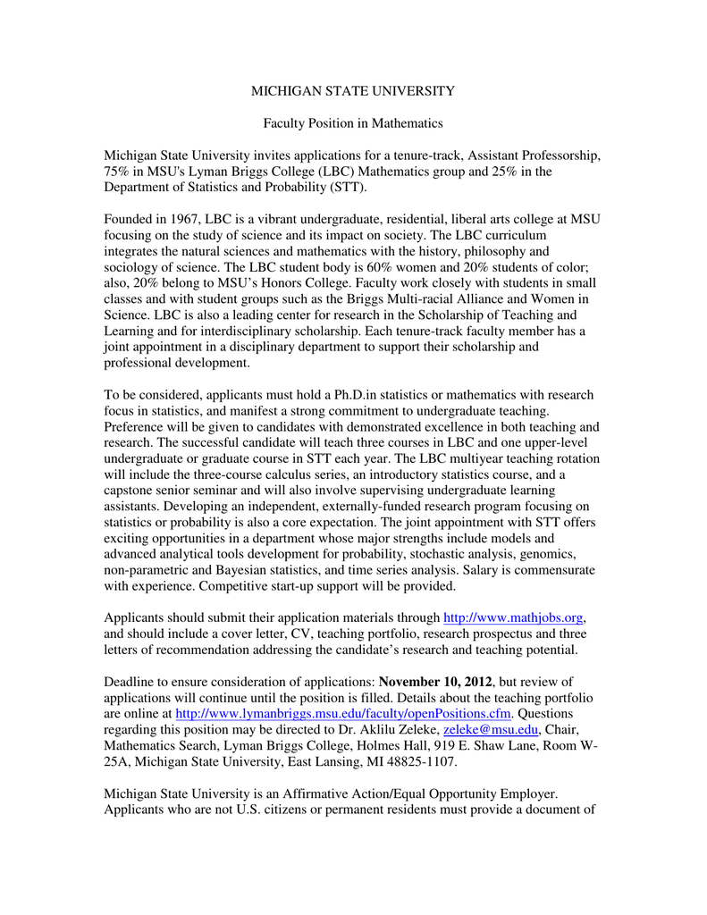 Faculty Position Cover Letter from s2.studylib.net
