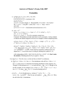 Answers of Master's Exam, Fall, 2007  Probability