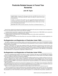 Pesticide Related Issues in Forest Tree Nurseries John W. Taylor