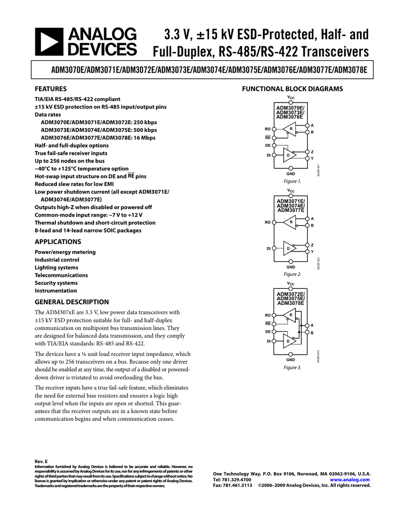 3 3 V, ±15 kV ESD-Protected, Half- and Full-Duplex, RS-485