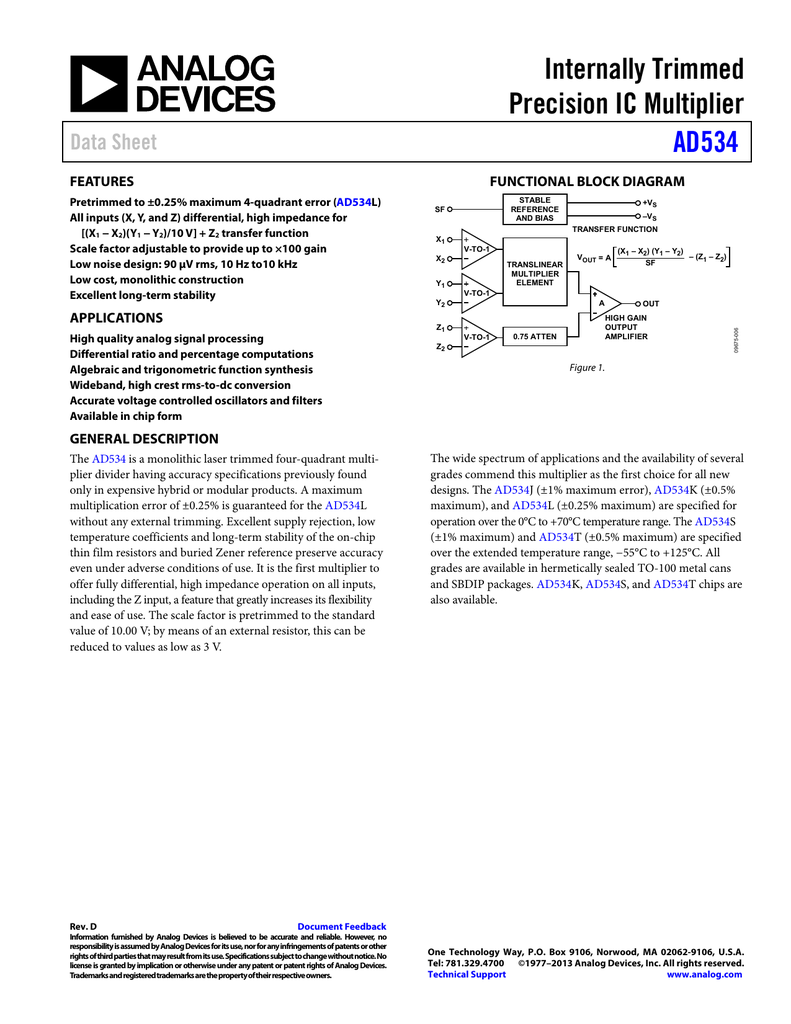 Internally Trimmed Precision Ic Multiplier Ad534 Data Sheet Block Diagram From Transfer Function
