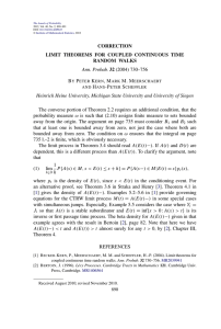 CORRECTION LIMIT THEOREMS FOR COUPLED CONTINUOUS TIME RANDOM WALKS Ann. Probab.