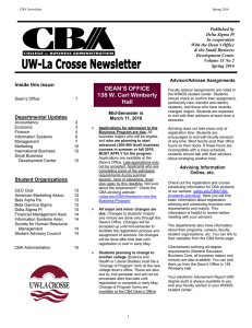 Inside this issue: Departmental Updates Mid-Semester is