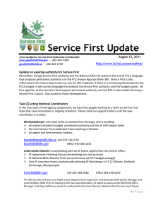 Service First Update   Update on expiring authority for Service First