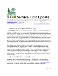 Service First Update   1.  Update on Streamlining Service First Agreements