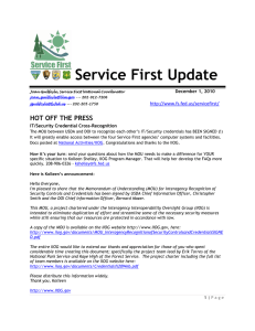 Service First Update HOT OFF THE PRESS