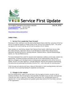 Service First Update  July 30, 2010 THREE ITEMS…