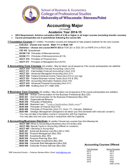 Accounting Major  Academic Year 2014-15