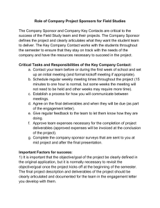 Role of Company Project Sponsors for Field Studies